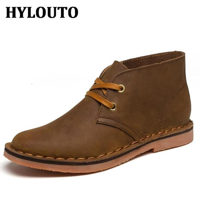 Winter Solid Simple Men Casual Desert Boots European American Style High Quality Genuine Leather Male Walking Ankle Shoes 807