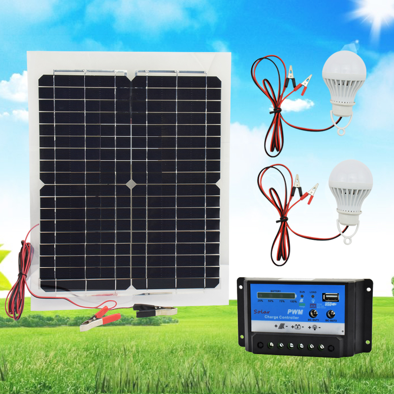 20W 12V Monocrystalline Silicon Solar Panel + PWM 10A Charge Controller Battery Charger Kit For Battery RV Car Boat Tourism