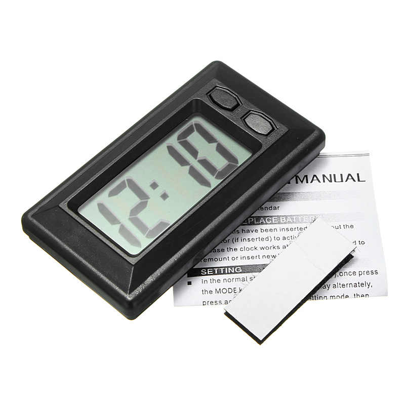 1pc Car Clock Car Clock Electronic Watch Car Dashboard LCD Screen Large Digital Clock Time Self-Adhesive Bracket Car Accessories
