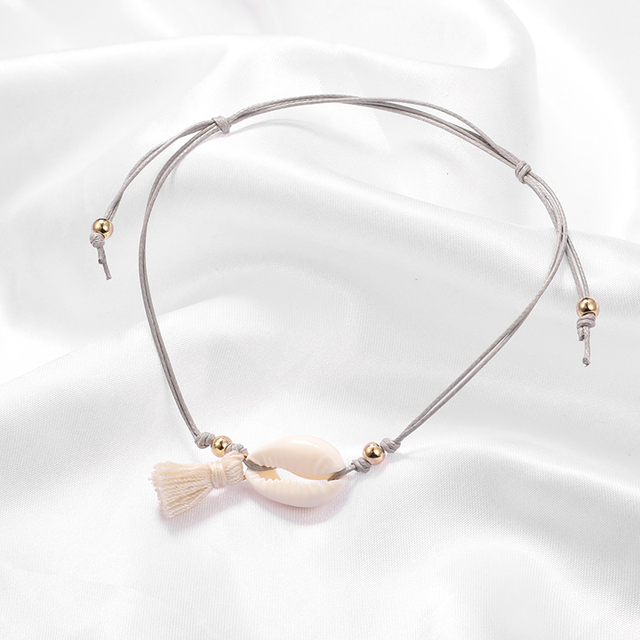 docona Boho Tassel Shell Pendant Gray Rope Adjustable Anklets Bracelets Beach Foot Jewelry 5