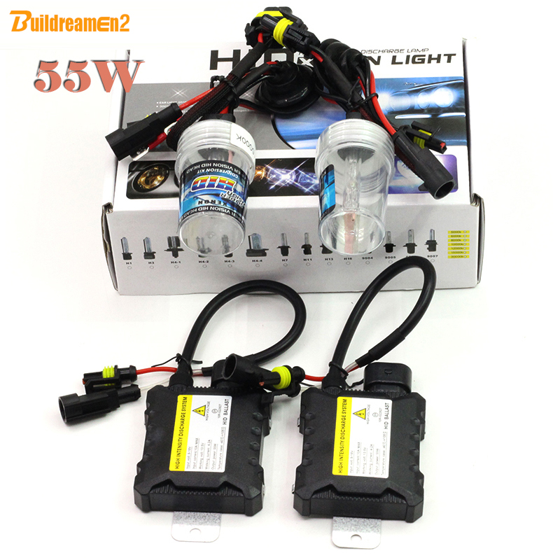Buildreamen2 55W Xenon HID Kit Bulb + Ballast Car Headlight Fog Lights Driving Lamps H1 H3 H7 H8/H9/H11 H10 9005 9006 880 881 buildreamen2 55w 9005 9006 h1 h3 h7 h8 h9 h11 880 881 hid xenon kit ac ballast bulb 10000k blue car headlight lamp fog light