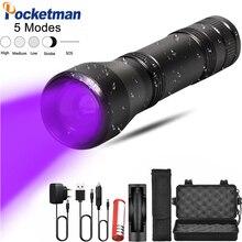 Ультрафиолетовый светодиодный фонарь с функцией масштабирования, минисветильник УФ фонарь с черным светом для обнаружения пятен мочи животных, охоты на скорпионов, 5 режимов