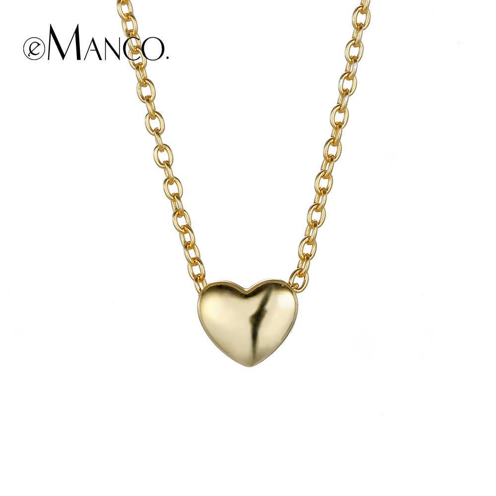 EManco สร้อยคอเงิน 925 สร้อยคอหัวใจสีทองจี้ Choker สร้อยคอสำหรับเครื่องประดับ Drop Shipping