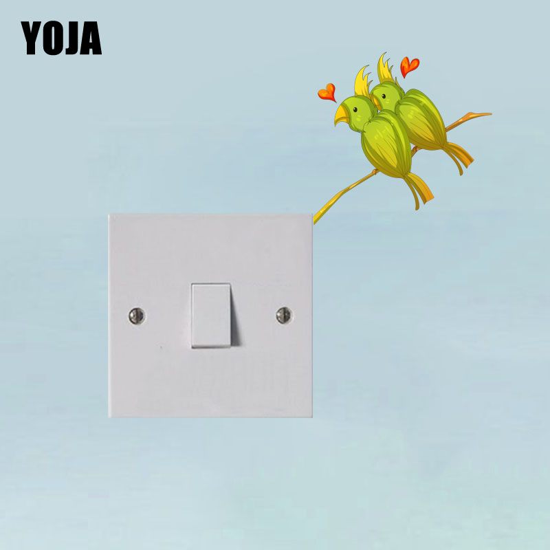 YOJA Lovely Heart Shape Parrot Decor Wall Switch Sticker Living Room Bedroom Personalized Decals 10SS0327