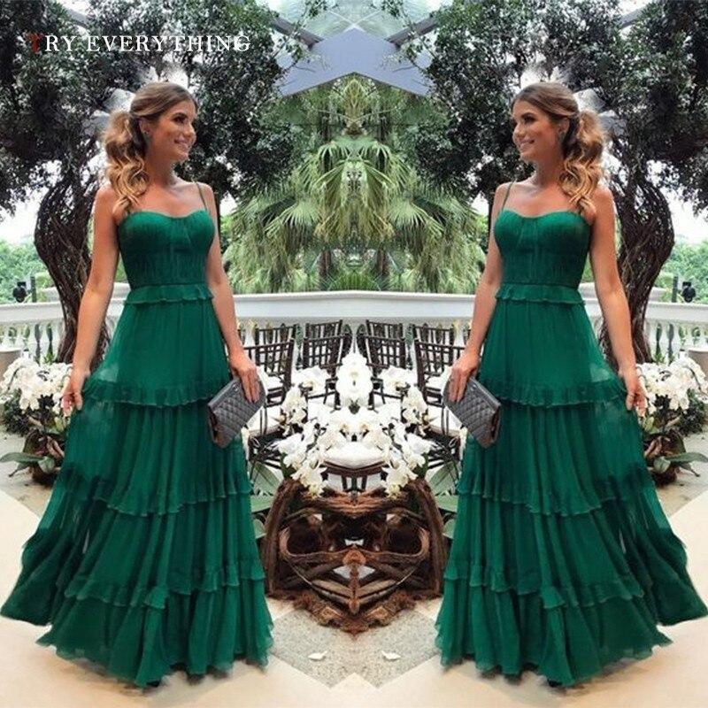Green Elegant Party Dress Summer Woman Ruffle Elegant Chiffon Dress Sleeveless Spaghetti Strap Ladies Long Dresses For Women