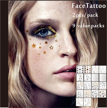 9 Packs Facial Decor Tattoos, Non-toxic And Waterproof Foiled Temporary Tattoo, Glitter Makeup