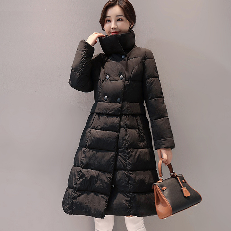 2017 turn-down collar women winter coat padded double breasted female parka ladies warm long jacket  jaqueta feminina inverno europe 2015 new women winter coat slim turn down collar long double breasted leather match cotton jacket coat w20