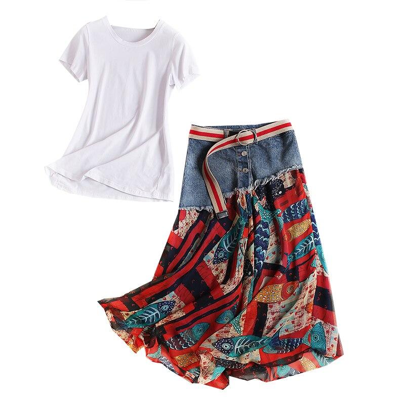 Vêtements Designer Fleur 2 Pièce Denim Blanc shirts Haute 2 Femmes 1 Imprimé Coloré Qualité T Street Jupe De Patchwork Set Ensemble High aqwt5BB