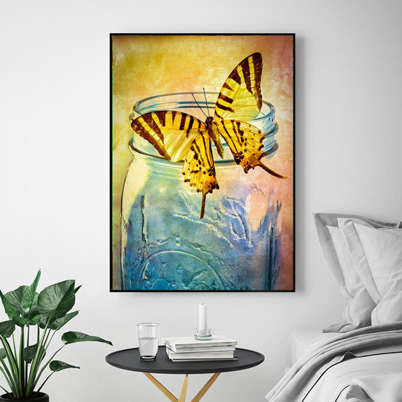 butterfly in a jar 3d Painting Diamond Painting Animaux 5d Diamond Embroidery full Square Cross Stitch Mosaico Home Decor ...