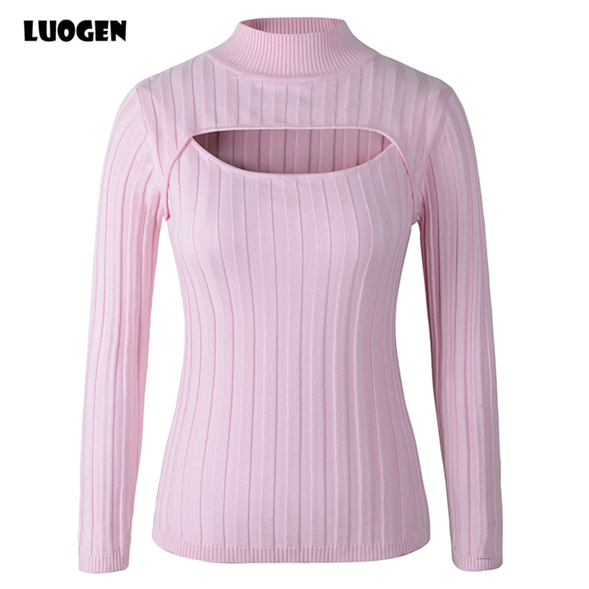 Japanese Anime Cosplay Open Chest Knitted Sweater Keyhole Women Sweaters And Pullovers Sexy Turtleneck Stripe Lolita Girls Knit