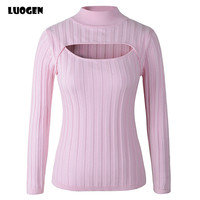 Japanese Anime Cosplay Open Chest Knitted Sweater Keyhole Women Sweaters and Pullovers Sexy Turtleneck Stripe For Lolita Girls