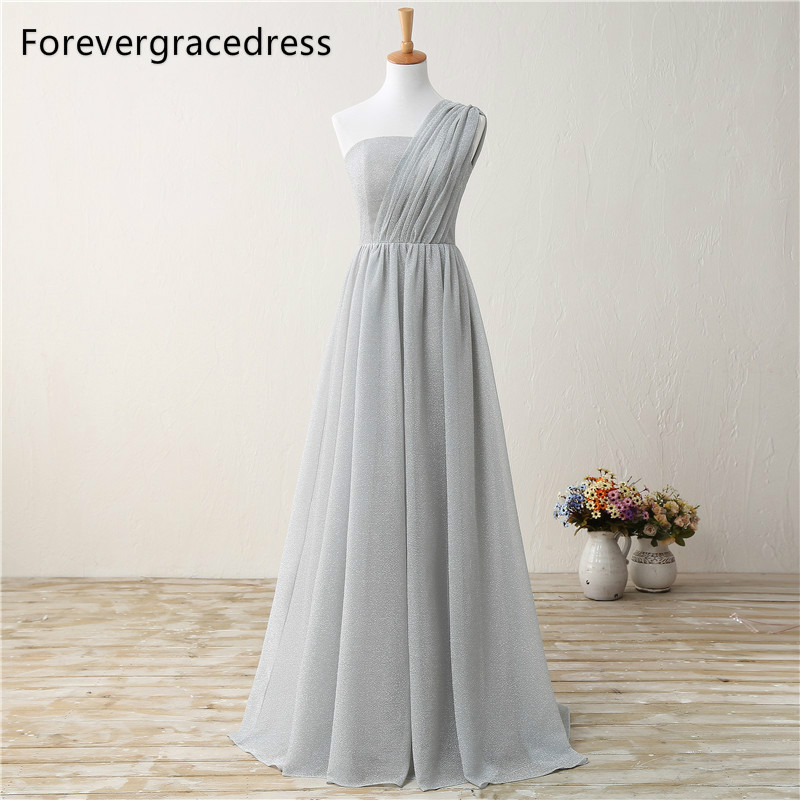 Forevergracedress Cheap   Bridesmaid     Dress   New Arrival One Shoulder Long Chiffon Wedding Party Goen Plus Size Custom Made