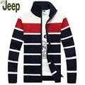 Camisola 2016 outono nova chegada dos homens venda quente jeep cardigan listrado camisola homens moda gola homens camisola m-xxxl 105