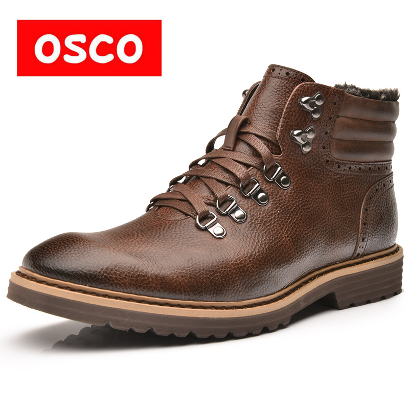 OSCO Martin Boots Men Winter Trend Plush Warm Fashion Ankle Boots High Top Shoes Men Desert Boots Big Size 40-48 Snow