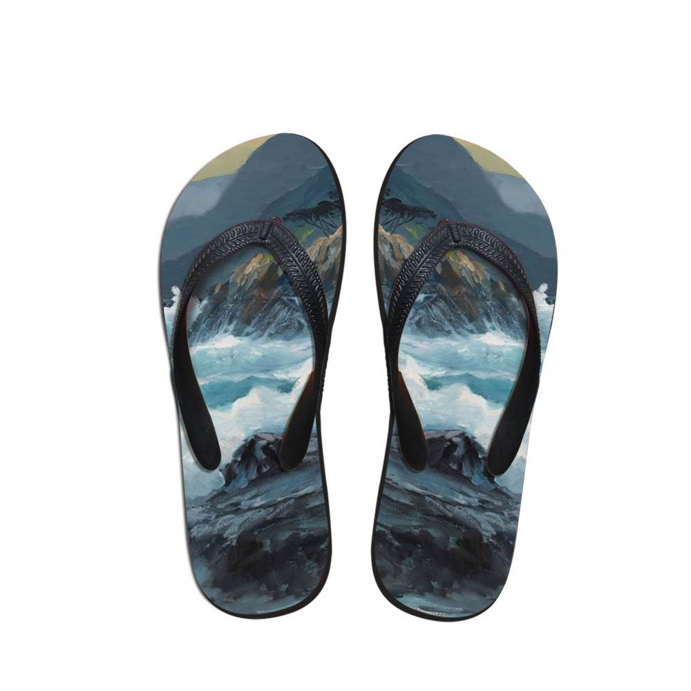 Design Men's Flip Flops Beach Marine Painting Shoes Outside Sandals Flops Sandals Man Summer Simple Design Flop