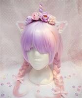 Sweet Lolita japanese harajuku Style Pinky Handmade Hair Hoop Flowers Unicorn Cosplay headband Party Accessory