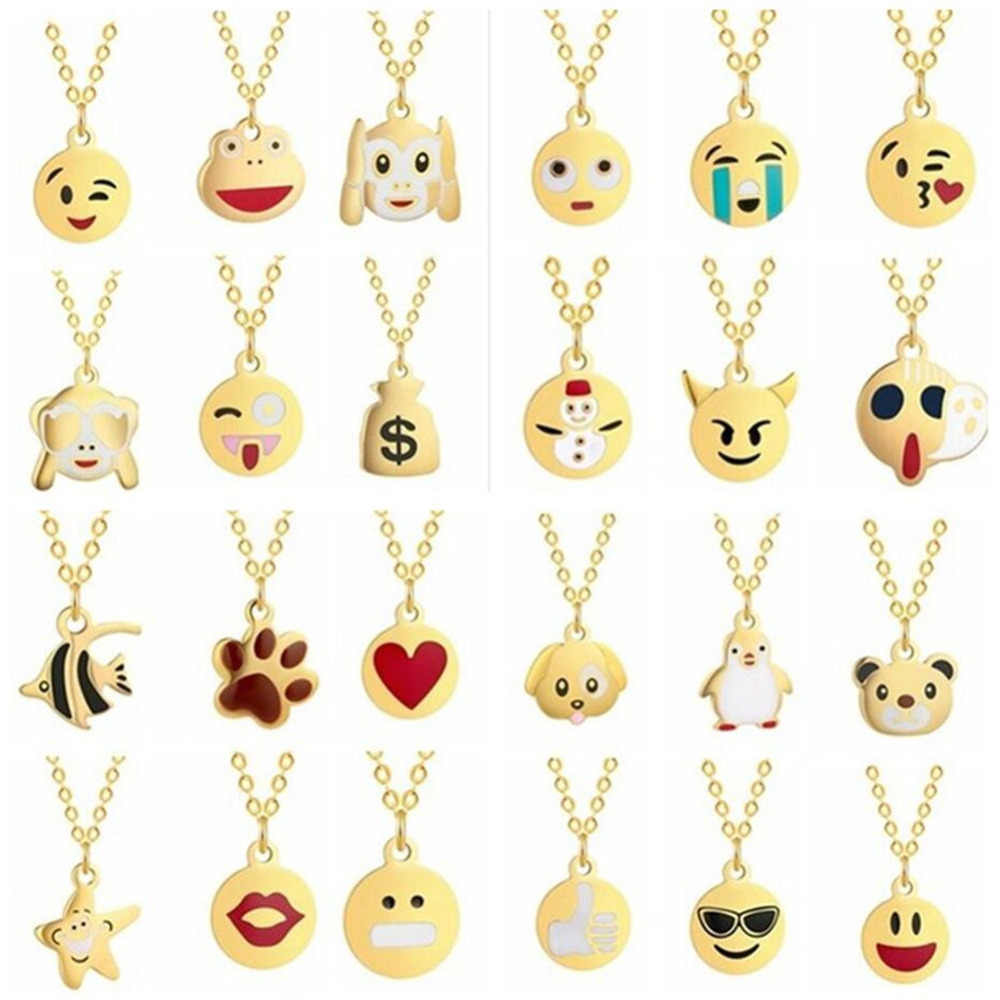 QIAMNI Handmade Cartoon Expression Face Emoji Necklace for Women Fish Star Rabbit Penguin Choker Collars Necklace Birthday Gifts