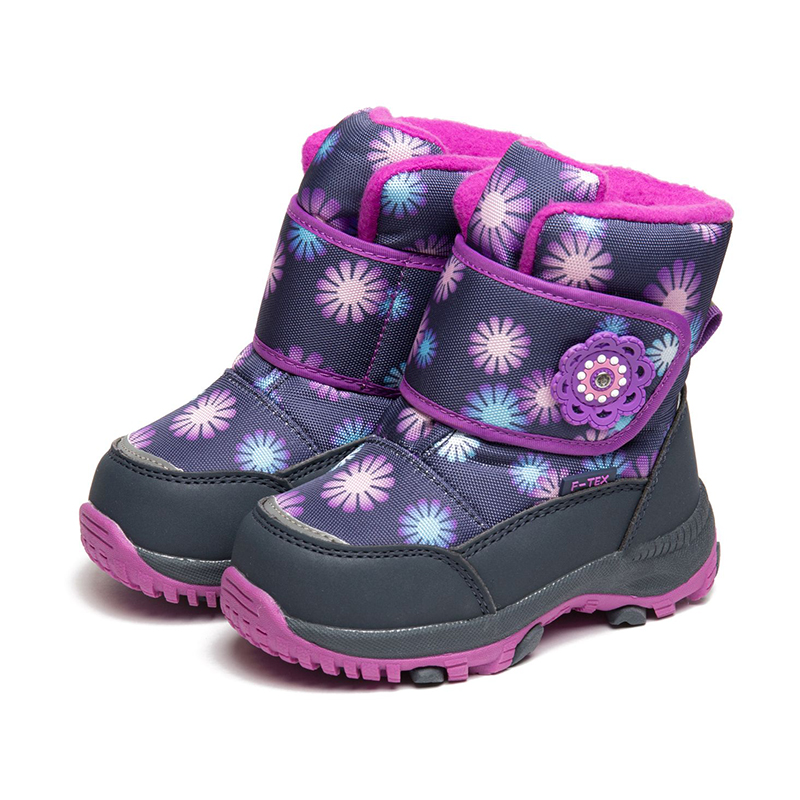 FLAMINGO Winter High Quality Waterproof Wool Keep Mid-Calf Warm Kids Shoes Anti-slip Size 22-27 Snow Boots for Girl 82M-QK-0918 side zip buckle strap mid calf boots