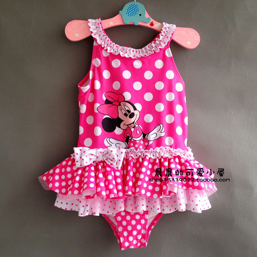Retail Girl Minnie mouse Bikini One-Piece Swimsuit  for children beach wear bathing suit summer UPF 50+ for 8-9 Year RT92 simba пупс minnie mouse