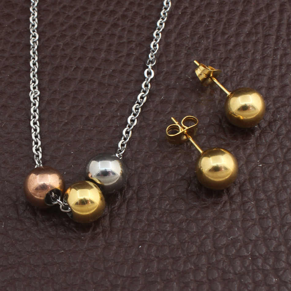 Wholesale Fashion Sivler Color Stainless Steel Jewelry Sets Round Pendant Necklace And Stud Earrings For Women SFOFFABA