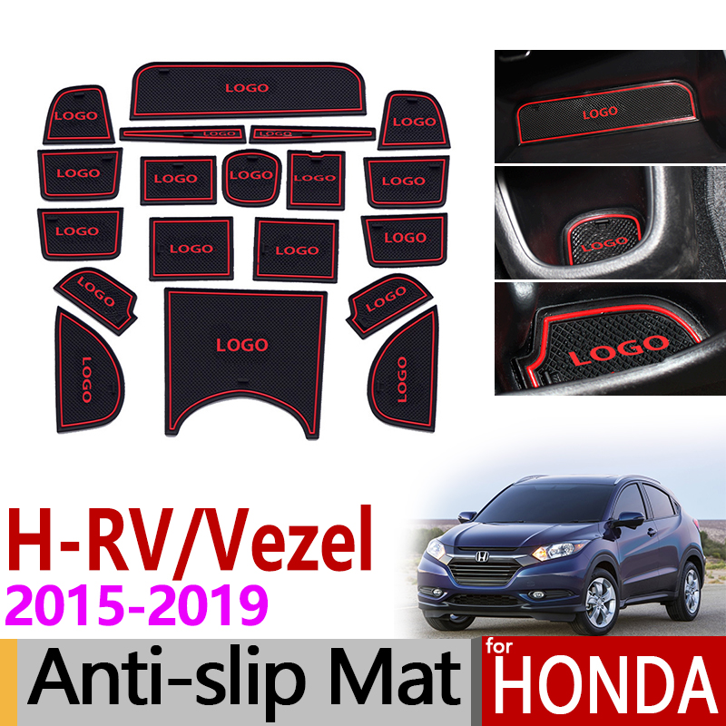 For Honda HRV Vezel 2015~2019 Anti-Slip Rubber Cup Mats Door Groove Mat HRV H RV 2016 2017 2018 Accessories Stickers Car Styling