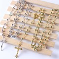 2016 fashion Gold Plated  and   Silver Plated  plastic  bead catholic rosary   quality bead  fashion rosary necklace