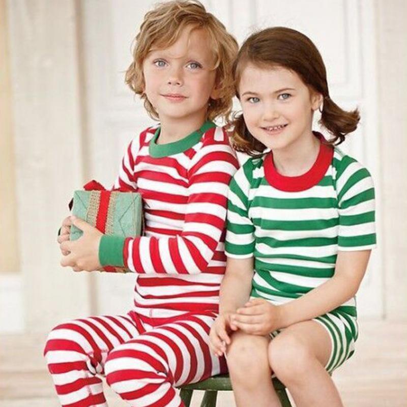 2Pcs Spring Autumn Christmas Home Outfits Stripe Long Sleeve Parent child Set Clothes Christmas Round Neck Pajamas Clothes