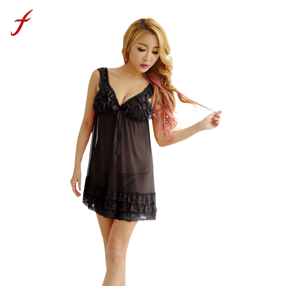feitong Sexy V Neck Lace Nightgown Sleepwear Women Ladies Lingerie Nightdress Women Nightwear Underwear Sleepwear G-string Set