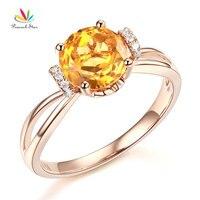 Pauw Star 14 K Rose Gold Wedding Promise Ring Bloemen Geel Citrien Natuurlijke Diamant