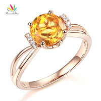 Peacock Star 14K Rose Gold Wedding Promise Ring Floral Yellow Citrine Natural Diamond