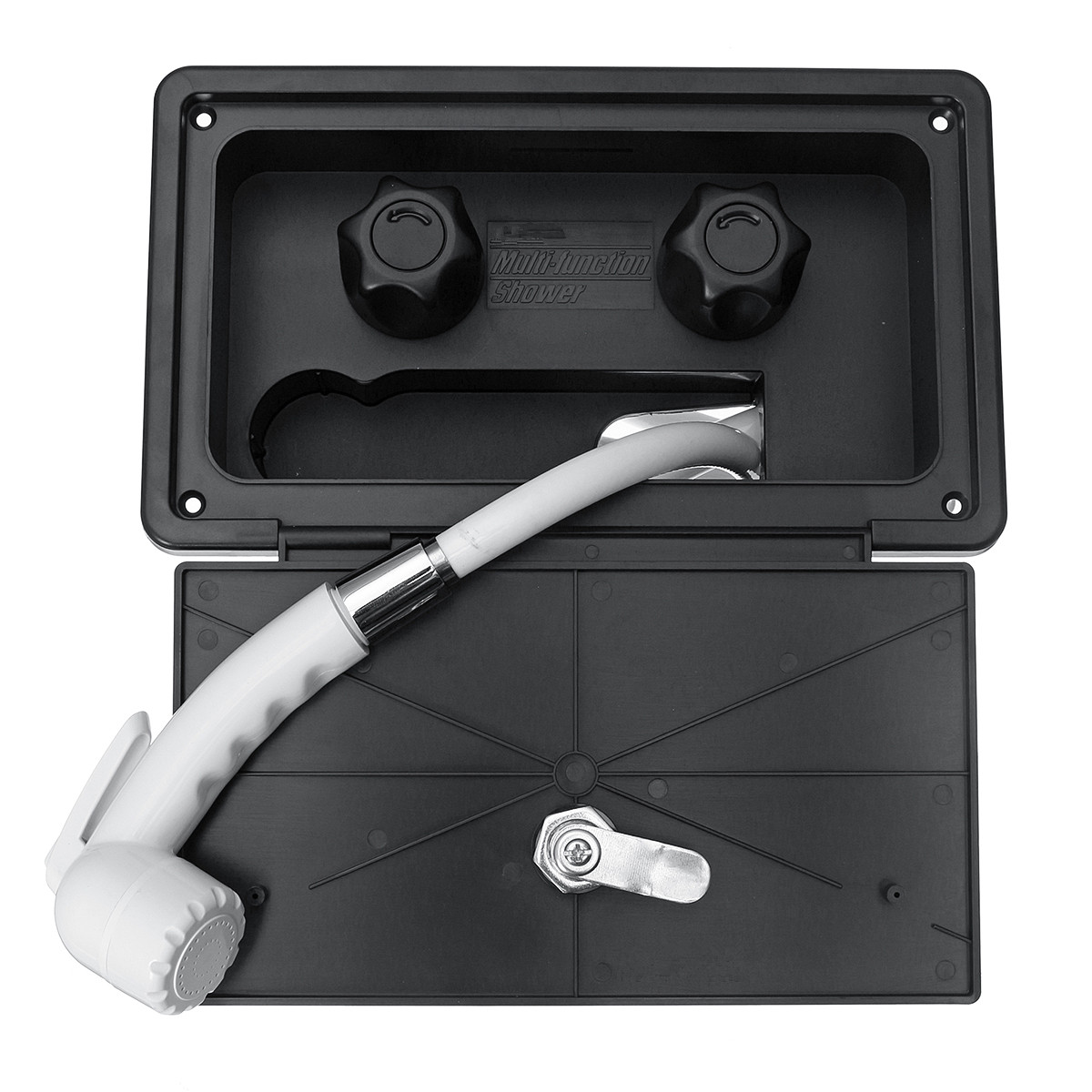 Xueqin Portable RV Exterior Shower Box Kit Shower Faucet Lock-Includes Hot Cold Water Mi ...