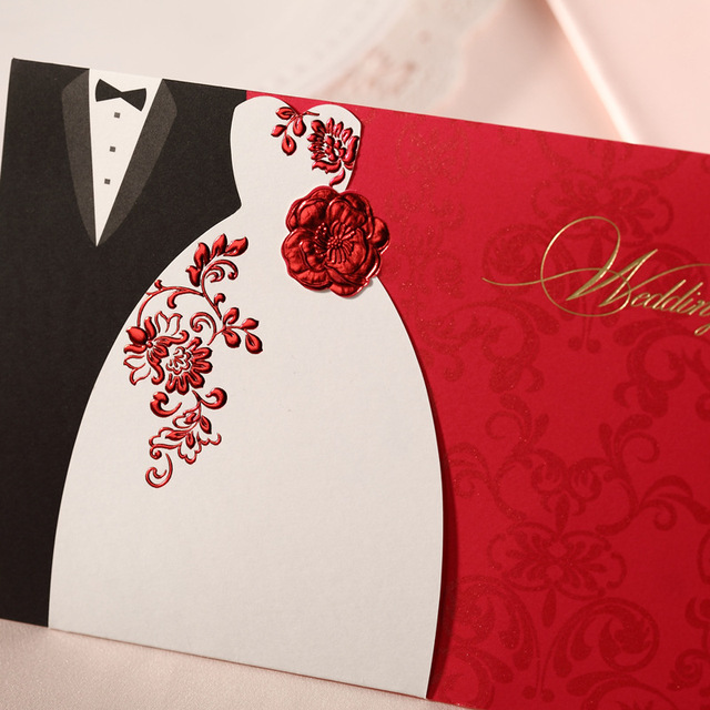 2014 Red Gold Bridal And Groom Wedding Invitations Card , Wedding Favors  And Gifts,Free