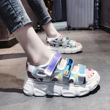 Summer Hook & Loop Female Sport Sandals Sexy Hollow Out Open Toe 5cm Platform Shoes Women Wedge Casual Ladies Beach