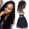 9A Peruvian Virgin Hair Kinky Curly With Frontal Closure 2 Bundles Kinky Curly Hair With 360 Lace Frontal Closure With Bundles