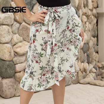 GIBSIE Plus Size Women Knee Length Ruffle Skirt Elegant Floral Print Midi Skrits Womens Summer Casual High Waist Skirt with Belt