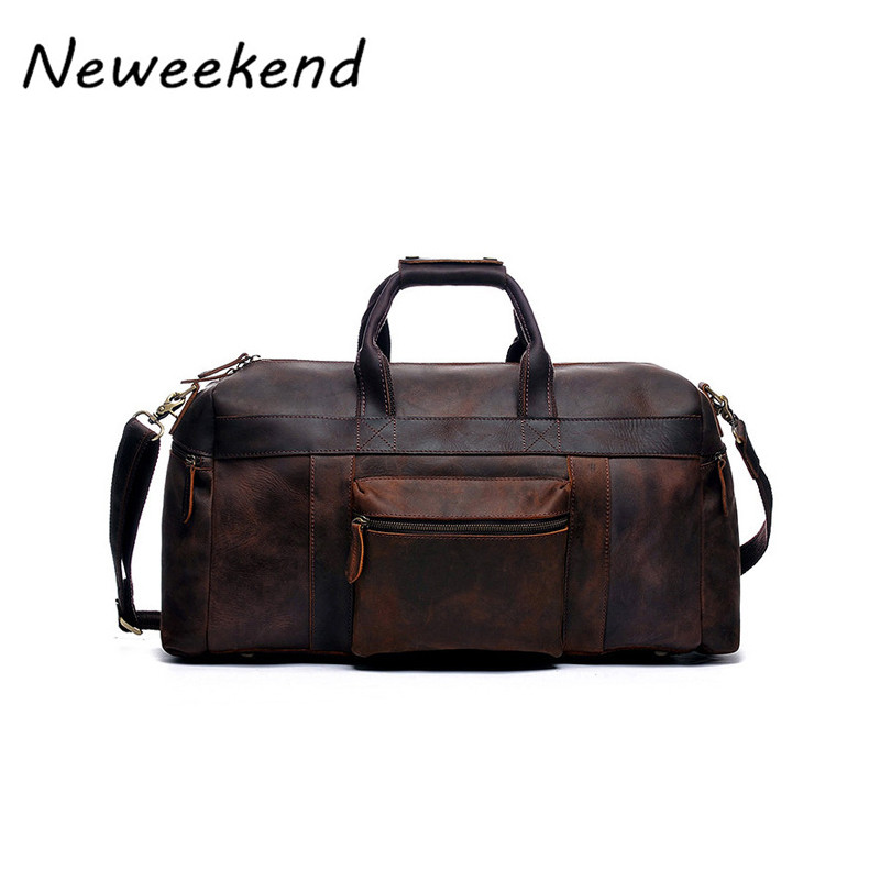 NEWEEKEND Vintage Genuine Leather Crazy Horse Multi Pocket 13 Inch Handbag Crossbody Travel Luggage font b