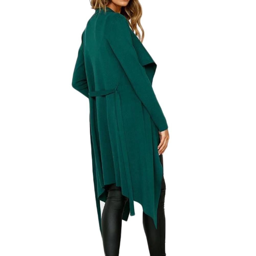 khaki Mujeres 2018 Suede Bolsillo Invierno Trench Coat Artificial Solapa De Abrigo Long Oversize Outwear Green Las RrZwrIp