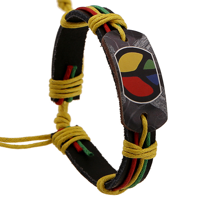 Jamaican Halloween Costume the simpsons duff halloween costume Braided Leather Bracelet Hot Jamaican Halloween Retro Bracelet Hand Woven Popular Explosion Fashion Man Jewelry Charm Bracelets