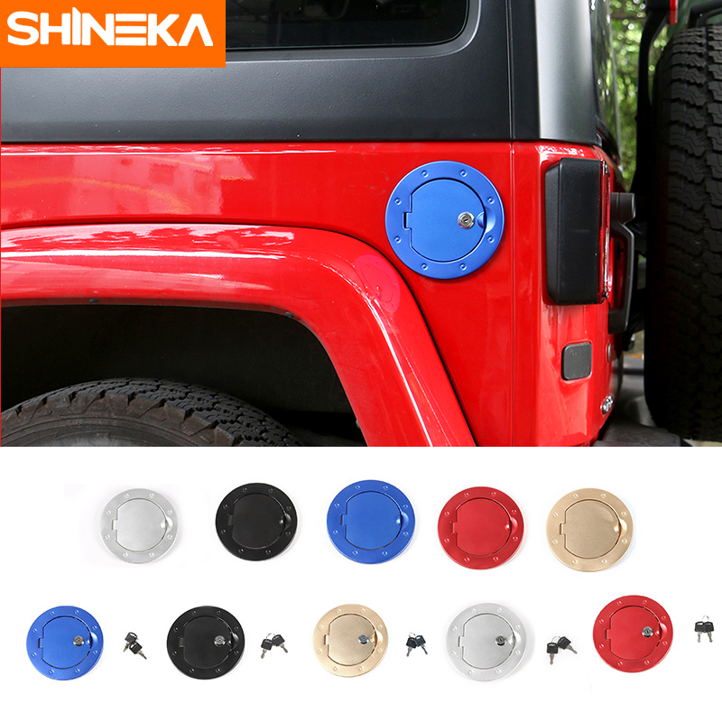 SHINEKA Car Styling Aluminium Alloy Fuel Tank Cap Cover with Key Gas Door Cover for Jeep