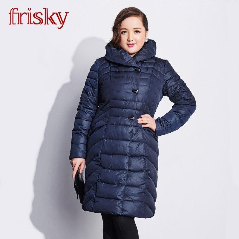 Friksy 2018 Long Hiver Femmes de Loisirs Veste Manteau Épaississement Plus La Taille coupe-vent Femmes de Mode Femmes Veste FR-2765