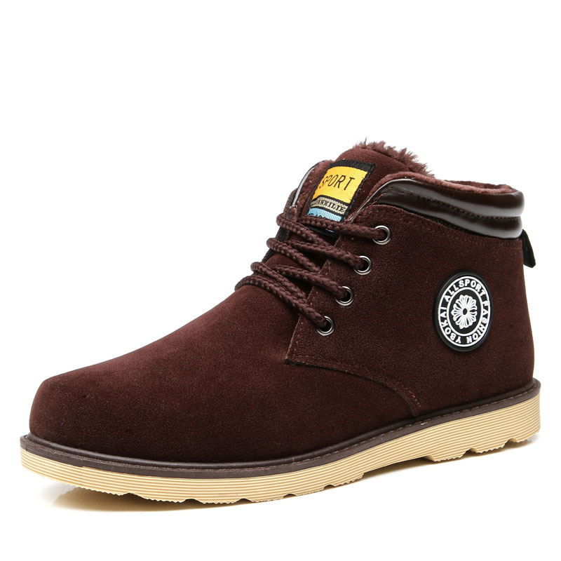 Casual Men Suede Leather Winter Snow Ankle Boots Lace Up Round Toe Chukka Shoes