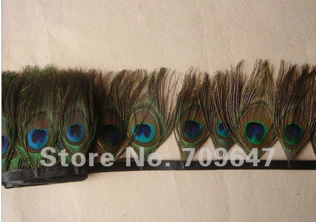Free shipping 2 Meters Lot Height 10 12cm Nature Peacock Feather Trimming Fringe with 32 40pcs Peacock Eyes in Feather from Home Garden