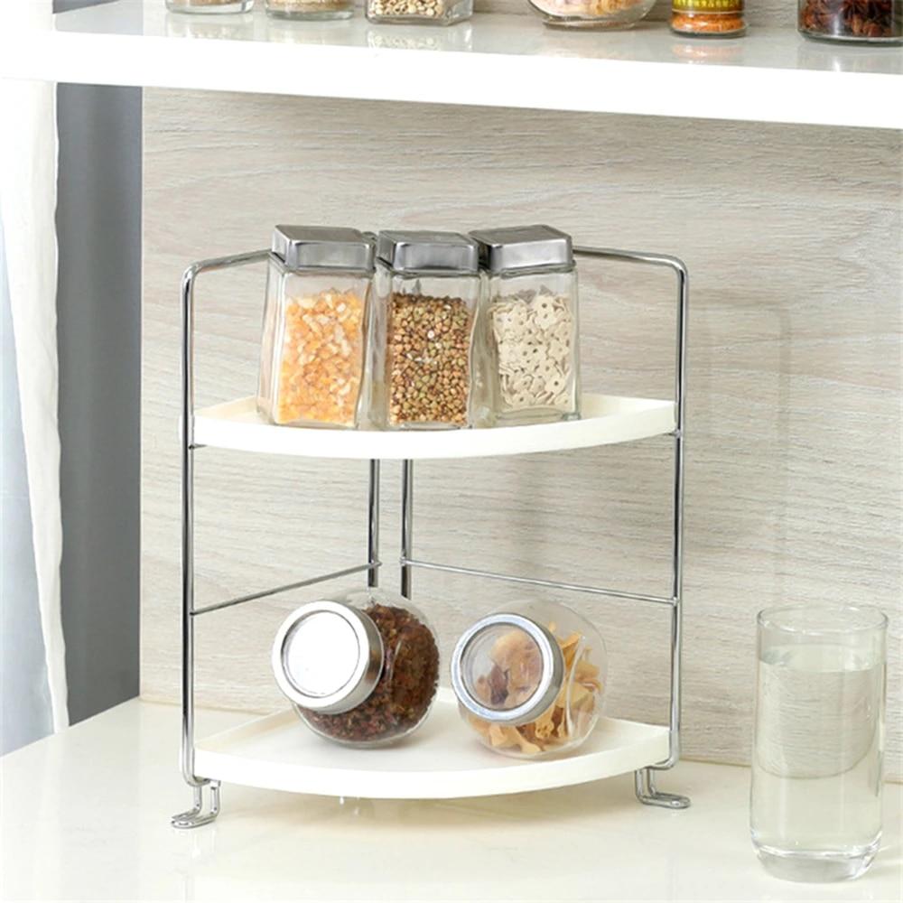 2 Tier Stackable Corner Shelf Freestanding Organizer Kitchen Bathroom Countertop Cabinet Storage Rack Holders Racks Aliexpress