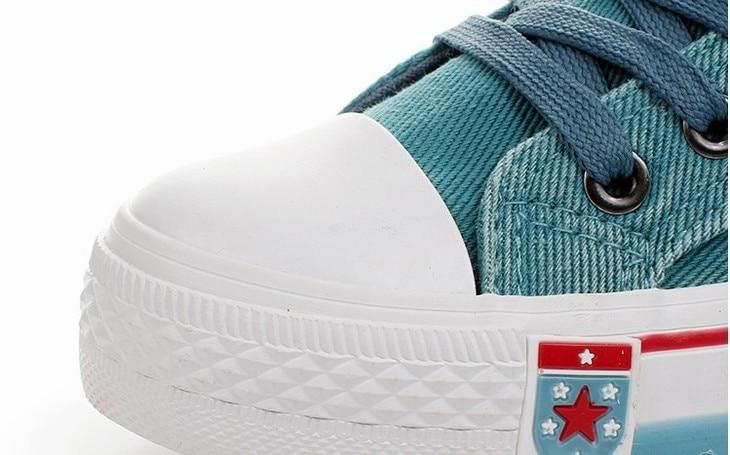 2017 Appartements Zapatillas Sport Green Femme Up Plate Toile Casual Lace Top Denim Pour Shoes Deportivas Feminino forme Blue light Femmes Chaussures Tenis High platform Blue Dames HrZqH0