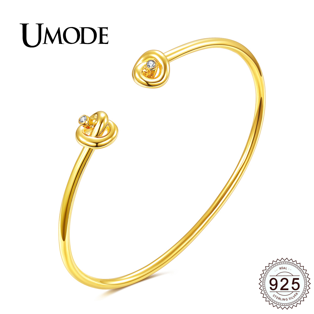 цена UMODE 100% Solid 925 Sterling Silver Bangles for Women Gold Color Silver Jewelry Double Knot CZ Bracelets & Bangles Gift ULB0105