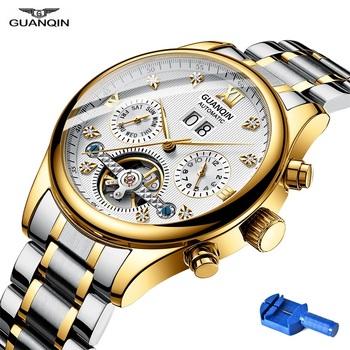 GUANQIN zegarki mężczyźni GH17001 męskie zegarki Top marka luksusowe mechaniczne zegarki na rękę skórzany pasek ze stali nierdzewnej automatyczny zegarek człowiek tanie i dobre opinie 13mm 41MM Auto data Kompletna kalendarz Odporny na wstrząsy Świetliste Dłonie Wieczny kalendarz 20mm Przycisk ukryte zapięcie