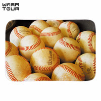 WARM TOUR Baseball Doormat Entrance Floor Mat Sport Ball Doormat Rug Indoor Front Door Bathroom Mats