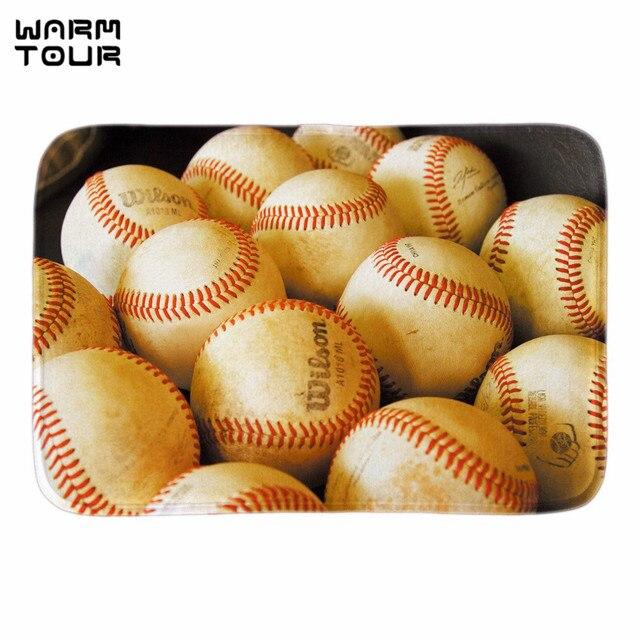 WARM TOUR Baseball Doormat Entrance Floor Mat Sport Ball Doormat Rug Indoor  Front Door Bathroom Mats