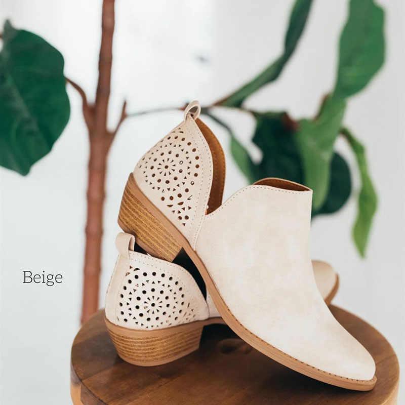 2019 Yaz Kadın Ayakkabı Retro Yüksek Topuk Çizmeler Kadın Orta Topuklar üzerinde Kayma Rahat Botas Mujer Patik Feminina Boyutu 43