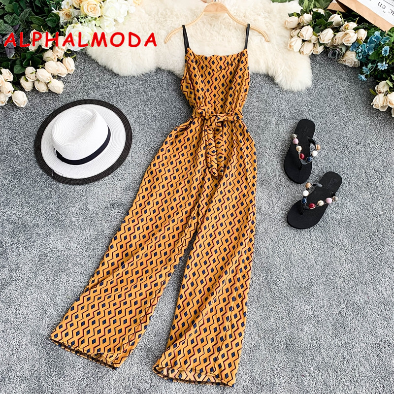 ALPHALMODA Geometric Design Seaside Holiday Rompers Chiffon Printed V-collar Sleeveless Sash Tie Women Summer Wide Jumpsuits